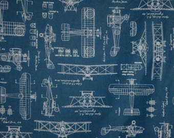 Airplane blueprint etsy blue with white vintage airplane blueprints print pure cotton fabric by the yard malvernweather Choice Image