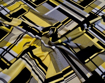 c98bae7004f Bold Yellow with Black and White Geometric Print Polyester ITY Stretch Jersey  Knit Fabric--By the Yard