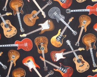 Allover Guitar Print on Black Pure Cotton Fabric from Timeless Treasures--By the Yard