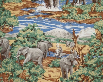 Charming Elephant Social Oasis Scenic Print Pure Cotton Fabric--By the Yard
