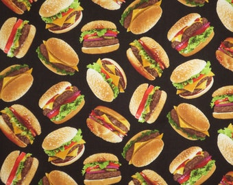 Tossed Hamburgers on Black with All the Fixings Print Pure Cotton Fabric from Timeless Treasures--By the Yard