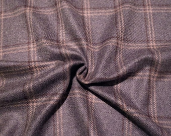 Heathered Gray and Camel Plaid 100% Cashmere Jacket Weight Wool Fabric--One Yard