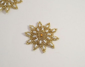 Small Pearl and Gold Beaded Starburst Design Appliques--One Piece