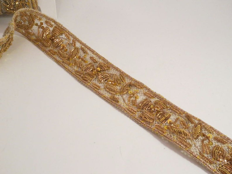 "1.5 Yards Beaded Trim Delicate Green Flowers Gold Bullion /& Beads White 1/"" Wide"