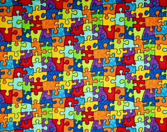 Rainbow Colors Puzzle Piece Autism Jigsaw Print Pure Cotton Fabric from Timeless Treasures--By the Yard