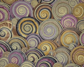 Brown and Mauve Spiral of Shells Print Pure Cotton Fabric--One Yard