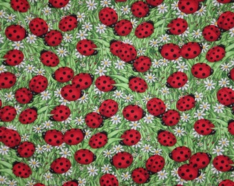 Red and Green Lady Bug Print Pure Cotton Fabric from Timeless Treasures--By the Yard