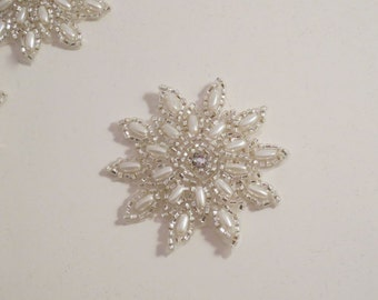 Small Pearl and Beaded Starburst Design Appliques--One Piece