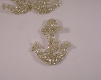 SMALL Silver Beaded Anchor Crest Applique--One Piece