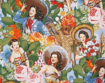 Festive Las Senoritas Print Pure Cotton Fabric--By the Yard