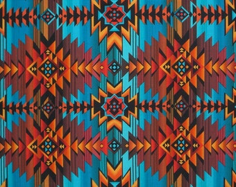 Turquoise and Rust Southwest Blanket Print Pure Cotton Fabric from Timeless Treasures--By the YARD