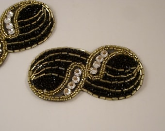Black Deco Beaded Applique with Accent Stones--One Piece