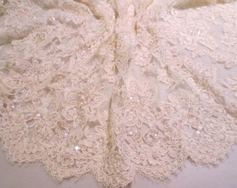 Very Pale Yellow Beaded French Alencon French Lace Fabric-One Yard