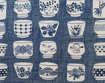 Indigo Japanese Tea Cup Print Pure Cotton Fabric from Alexander Henry--One Yard