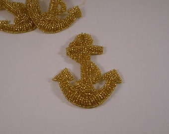 LARGE Gold Beaded Anchor Crest Applique--One Piece