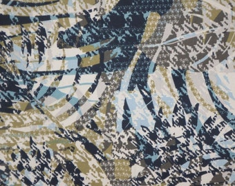 SPECIAL--Black Avocado and Teal Abstract Print Stretch Brushed Cotton Twill Fabric--One Yard