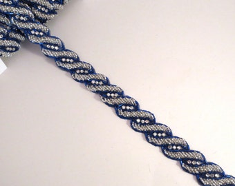 Sapphire Blue and Crystal Beaded Trim with Rhinestones--One Yard
