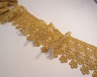 "Single Edge Metallic Gold Venise Lace Trim 3.5"" Wide--One Yard"