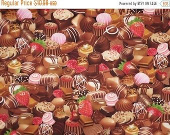 ON SALE Chocolate Candy Assortment Print Pure Cotton Fabric from Timeless Treasures--By the Yard