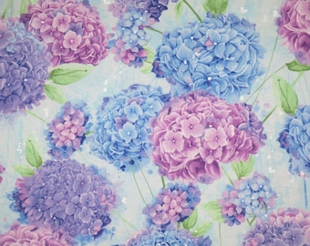 Fabulous Harmony Hydrangea Print in Blue and Lavender Pure Cotton Fabric--By the Yard