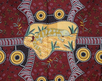 Gold on Maroon Blue Tongue Brown Aboriginal Print Pure Cotton Fabric--One Yard
