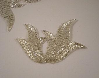 Large Silver Beaded Deco Design Applique--One Piece