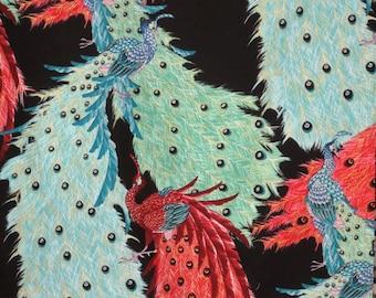 Stunning Kujaku Peacock Print with Metallic Gold on Black Pure Cotton Fabric--One Yard