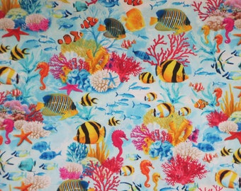 Bright and Cheerful Tropical Fish Undersea Print Pure Cotton Fabric from Timeless Treasures--By the Yard
