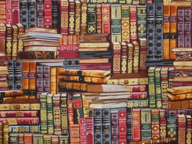 Library Books Print in Reds with Metallic Gold Pure Cotton image 1