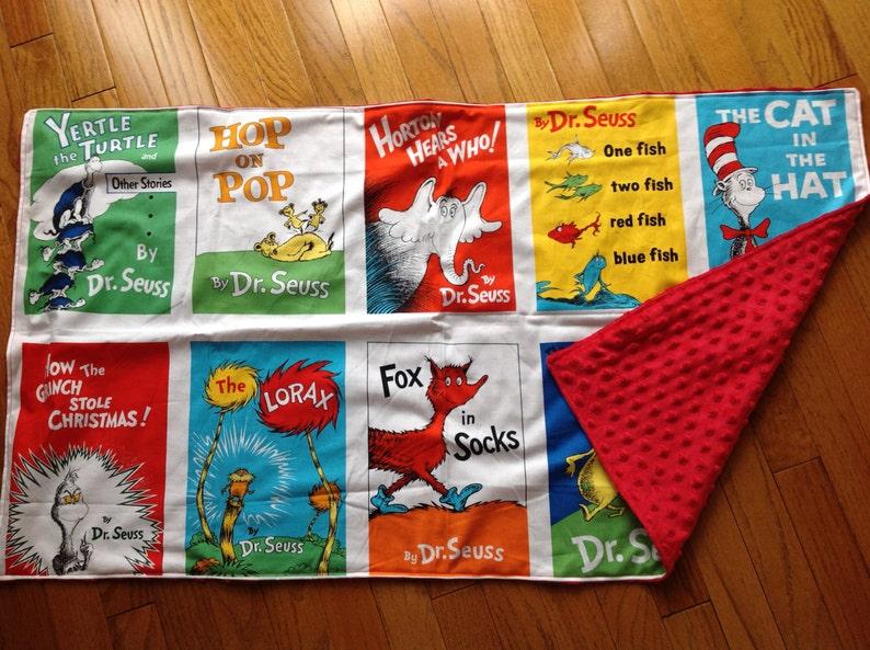 Dr. Seuss panel minky fleece blanket 22x42 image 1