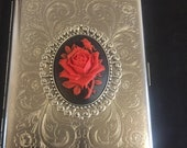 Seconds Red English Rose Silver Gothic Steel Superking cigarette case