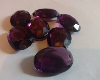 7pcs Amethyst Bevelled Glass Gems Purple