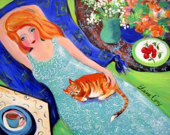 Portrait Cat Original Painting 18 x 24 by Elaine Cory