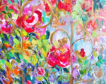 Abstract Painting  Palette Knife  20 x 24 Original Fine Art by Elaine Cory