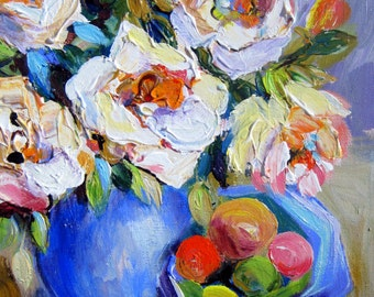 White Roses and Fruit Bowl Floral Painting 11 x 14  Original Painting by Elaine Cory