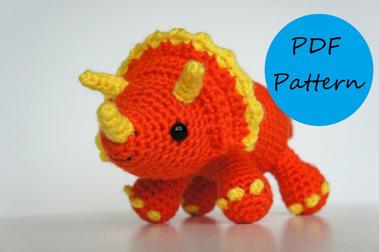 PDF Crochet Amigurumi Pattern Triceratops Dinosaur   Etsy