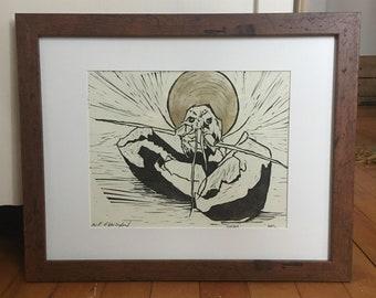 Framed - Saint of New England - Original Art - Hand Printed Block Print - Lobster