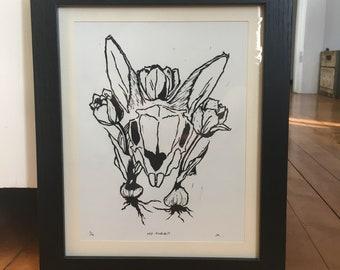 Framed - Mr Rabbit - Original Art - Hand Printed Linoleum Cut Art Block Print - Rabbit Skull
