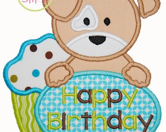 Birthday Puppy Applique Design 4x4, 5x7, and 6x10  INSTANT DOWNLOAD now available