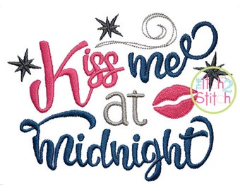 Kiss Me at Midnight machine embroidery design, INSTANT DOWNLOAD now available