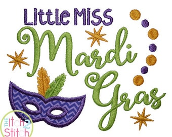 Little Miss Mardi Gras Applique Design For Machine Embroidery,  INSTANT DOWNLOAD now available
