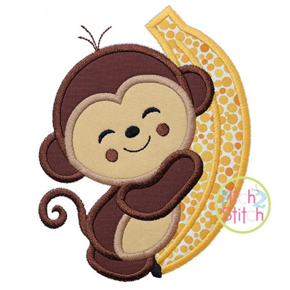 Monkey Hugs Banana Applique Design For Machine Embroidery Etsy