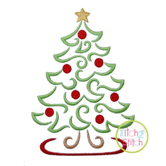 Swirly Christmas Tree Embroidery Design For Machine