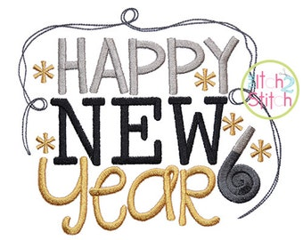 Happy New Year 2 machine embroidery design, INSTANT DOWNLOAD now available