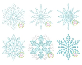 Snowflake Embroidery Design Set for machine embroidery, Six designs included, INSTANT DOWNLOAD
