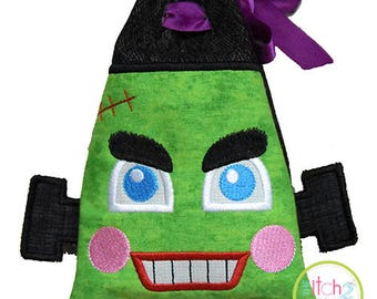 In the Hoop ITH Frankenstein Treat Bag Design for Machine Embroidery, 5x7 size only, INSTANT DOWNLOAD
