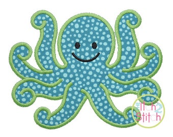 Octopus Applique Design (font NOT included) In Hoop Sizes 4x4, 5x7, and 6x10 INSTANT DOWNLOAD now available