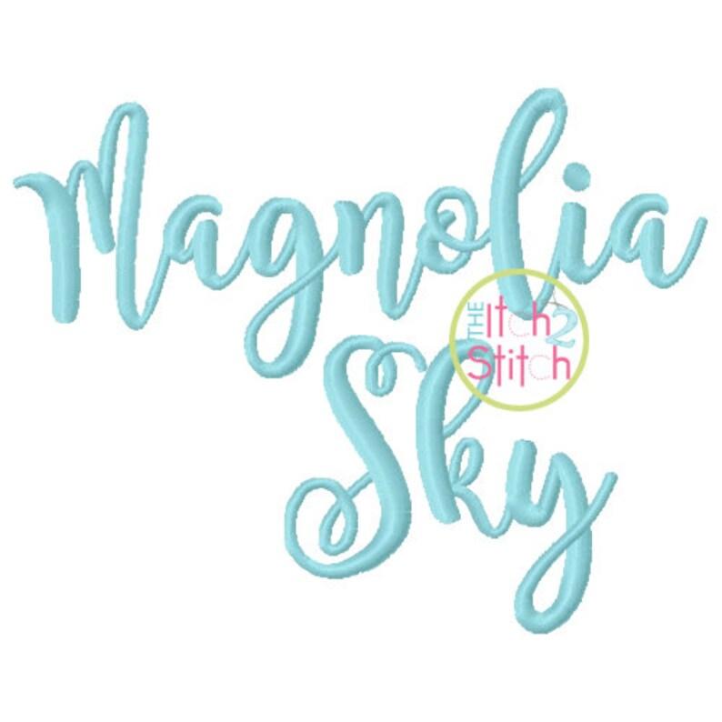 Magnolia Sky Embroidery Font 1 1.5 2 & image 0