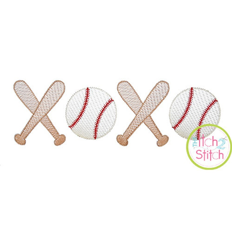 XOXO Baseball Sketch Embroidery Design, Shown with our
