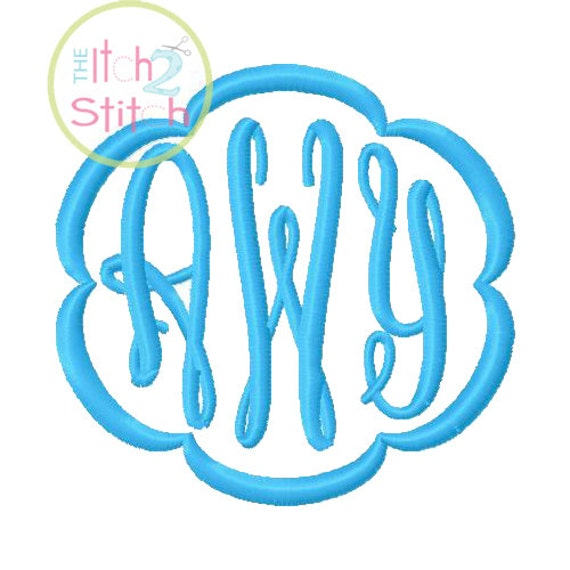 Fancy Oval Monogram Font and Frames for machine embroidery in